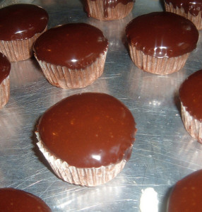 Chocolate Filled Cupcakes with Ganache Topping