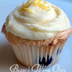Blueberry Angel Food Cupcakes With Lemon Cream Cheese Frosting