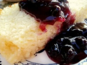 Lemon Ricotta Pound Cake with Blueberry Sauce