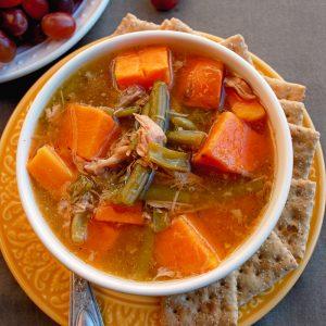 Homemade Turkey Sweet Potato Green Bean Soup