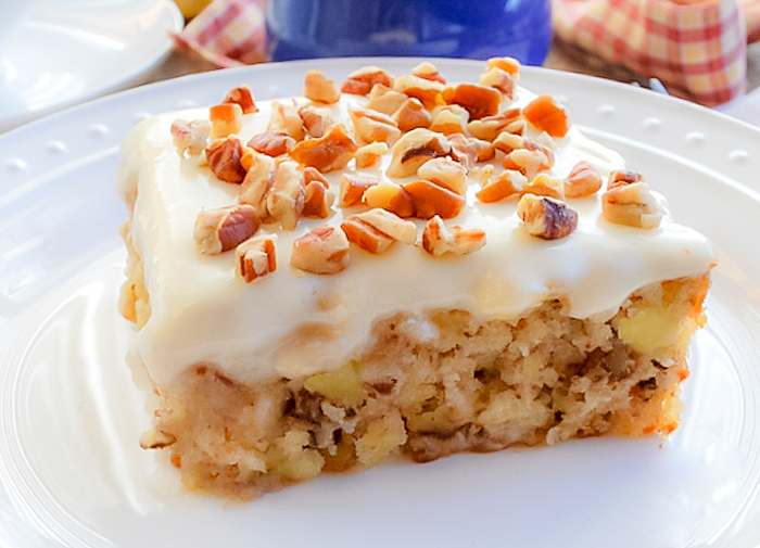 Pineapple Pecan Cake With Cream Cheese Frosting