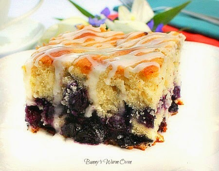 Melt In Your Mouth Blueberry Cake with Lemon Glaze - Bunny's Warm Oven