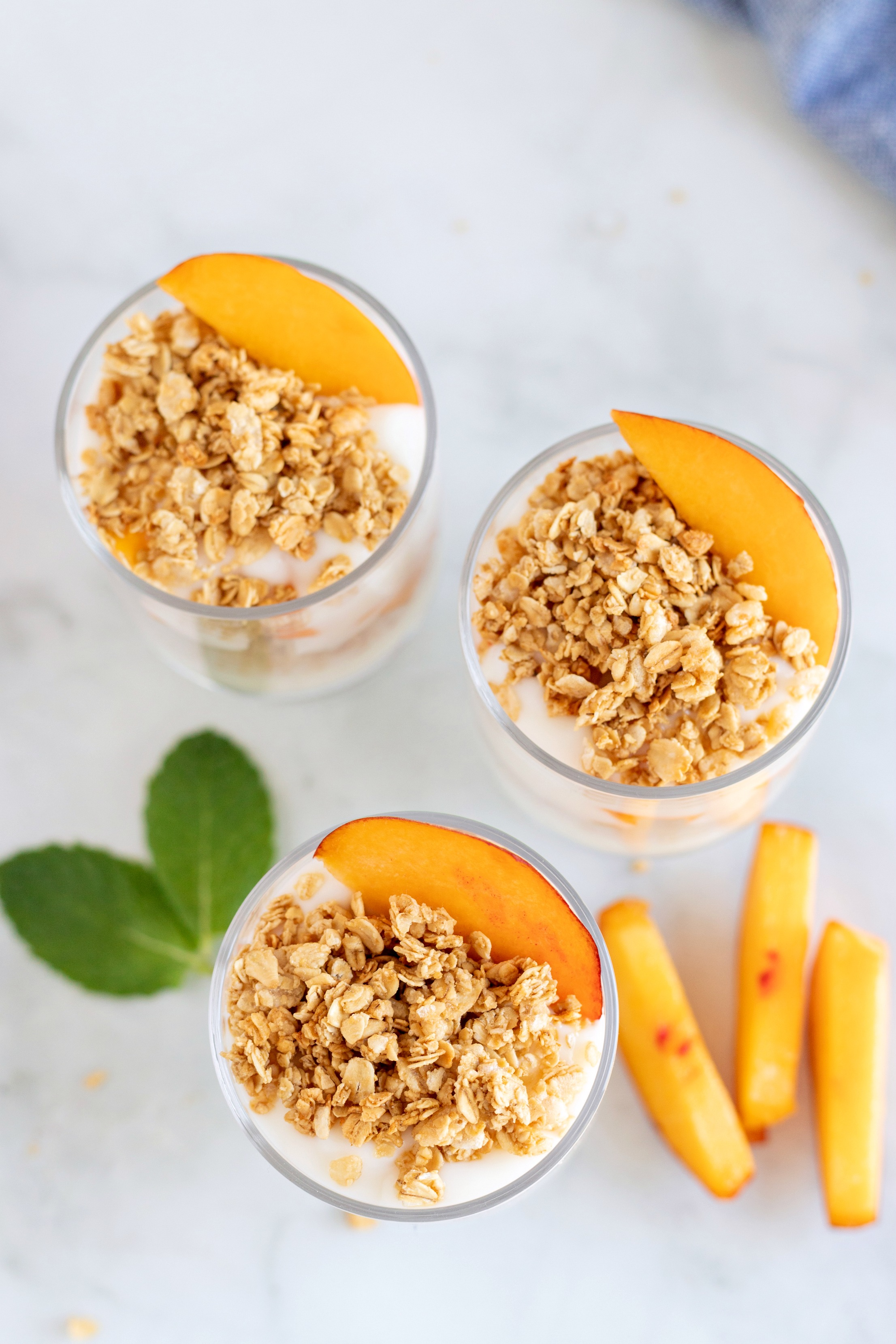 Fresh Peach Granola and Yogurt Parfait