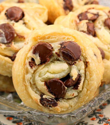 Chocolate Chip Cream Cheese Puff Pastry Cookies
