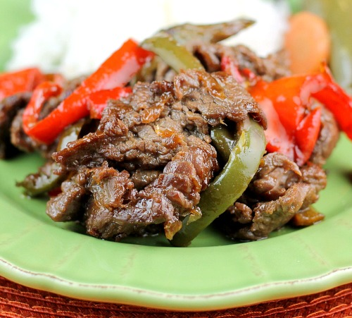 Asada Carne Marinated Sirloin Steak with Peppers and Onions