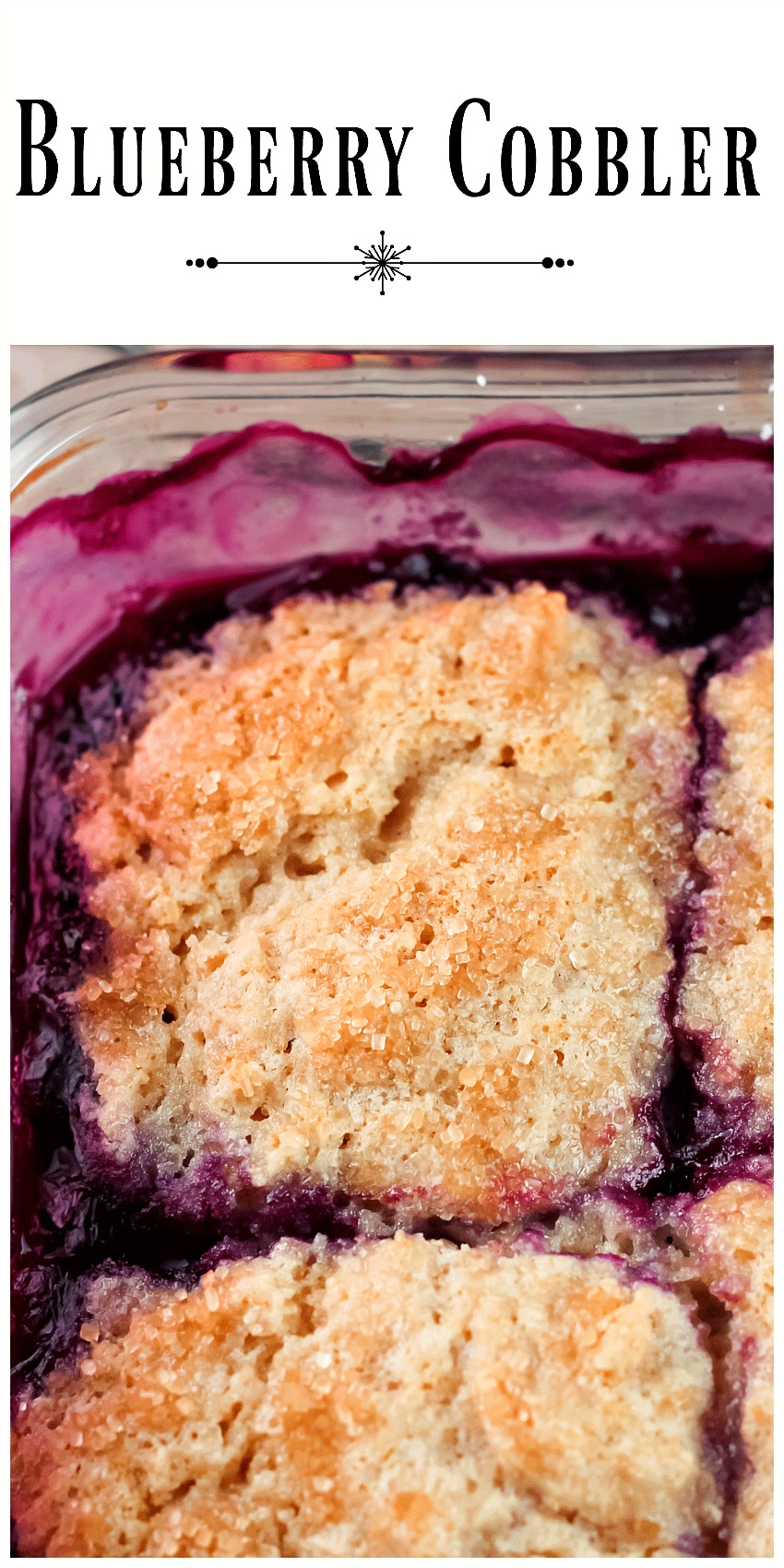Blueberry Cobbler - An easy delicious homemade blueberry cobbler made with frozen blueberries, baked in a 9 inch baking pan. Serve with vanilla ice cream.
