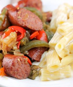Kielbasa and Peppers with Pasta Alfredo
