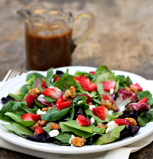 Strawberry Feta Salad with balsamic Vinaigrette