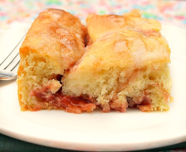 glazed cherry yeast coffee cake is a very tender light cake made with ...