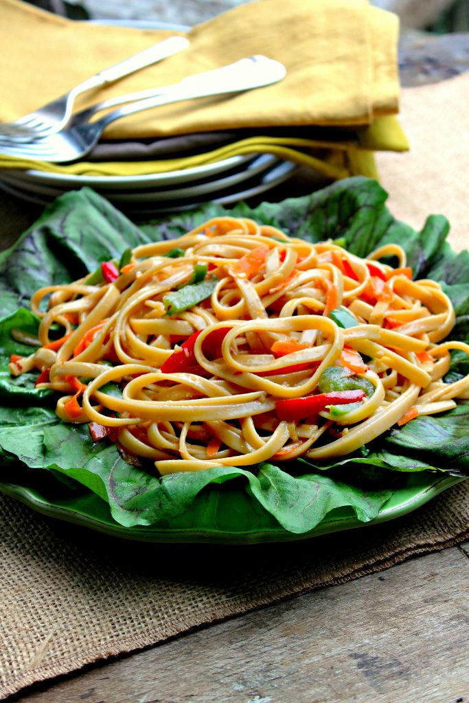 Asian Noodle Salad sitting on a bed of fresh lettuce