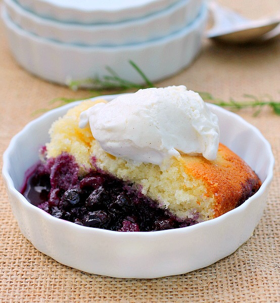 Lemon Blueberry Pudding Cake