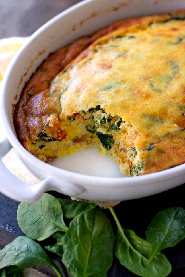 Spinach bacon Ham Egg Bake