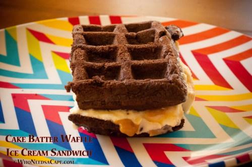 Cake Batter Waffle ice Cream Sandwich