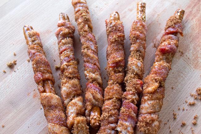Bacon Wrapped Pretzel Rods