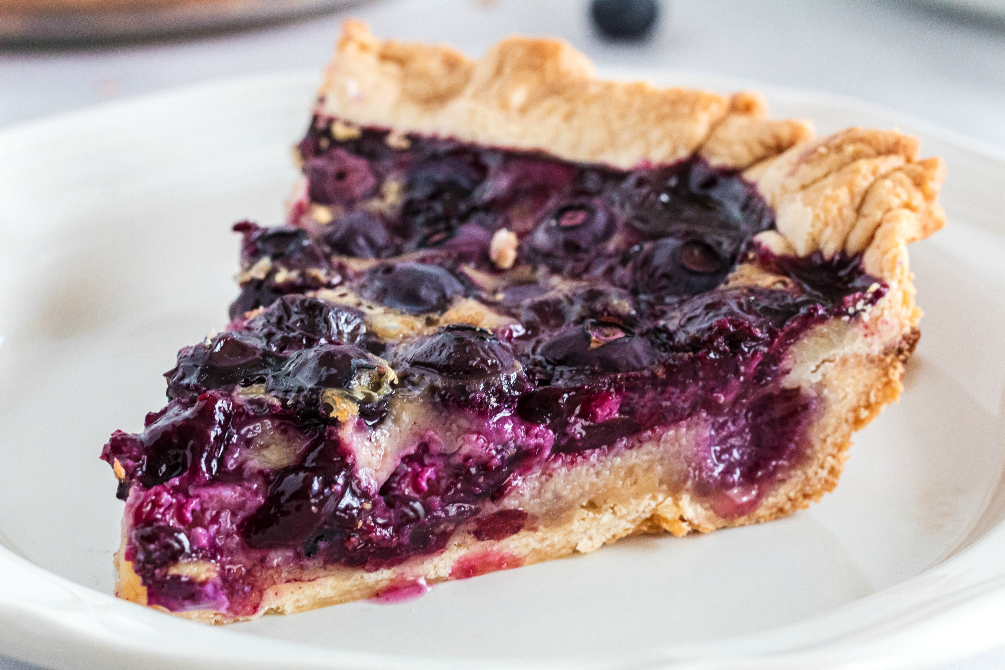 Homemade Blueberry Custard Pie