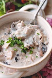 Creamy Mushroom Chicken Rice Soup