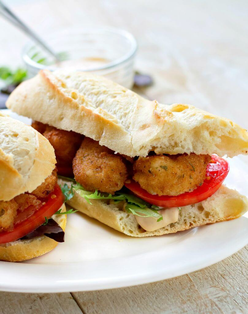 Shrimp Po Boy Sandwich with Sauce