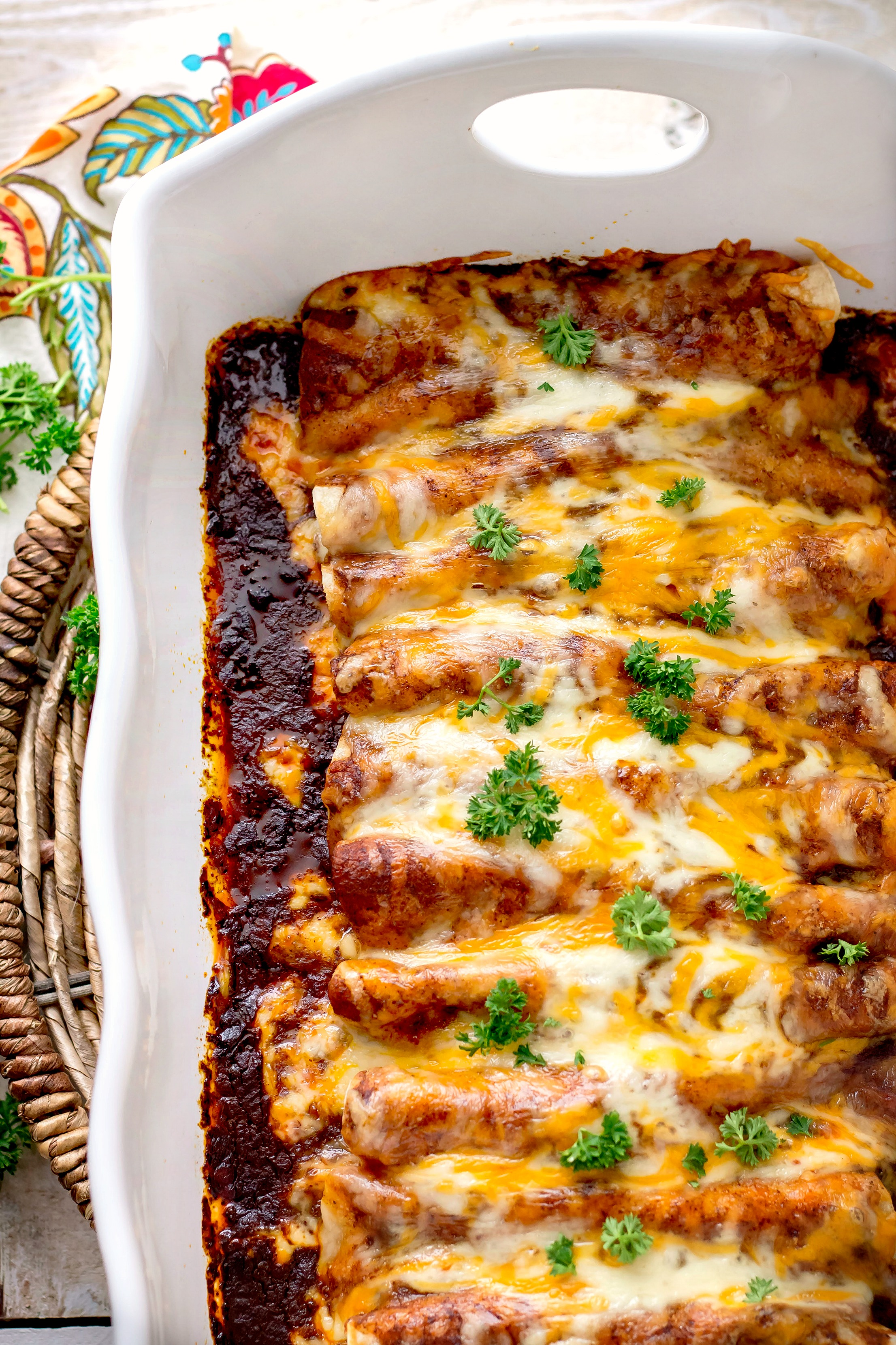 Chicken Enchiladas with Homemade Red Enchilada Sauce