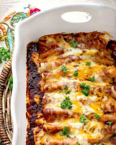 Chicken Enchiladas with Homemade Red Enchilada Sauce
