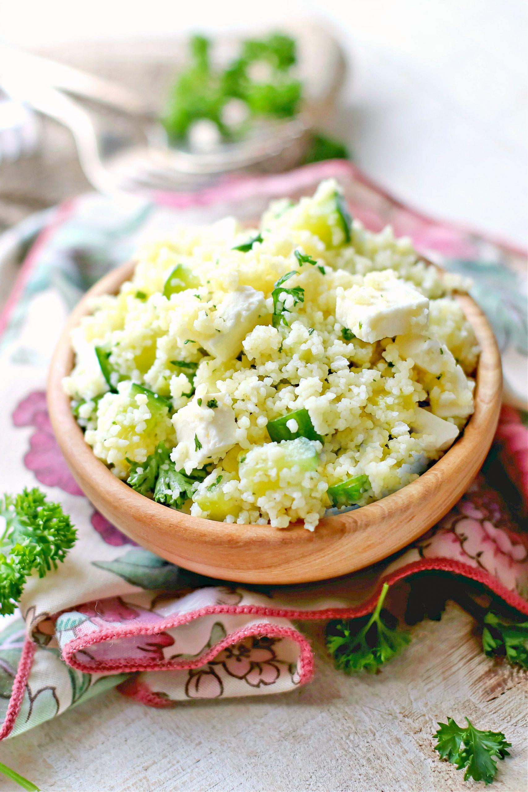 Cucumber Lemon Feta Cheese Couscous Salad