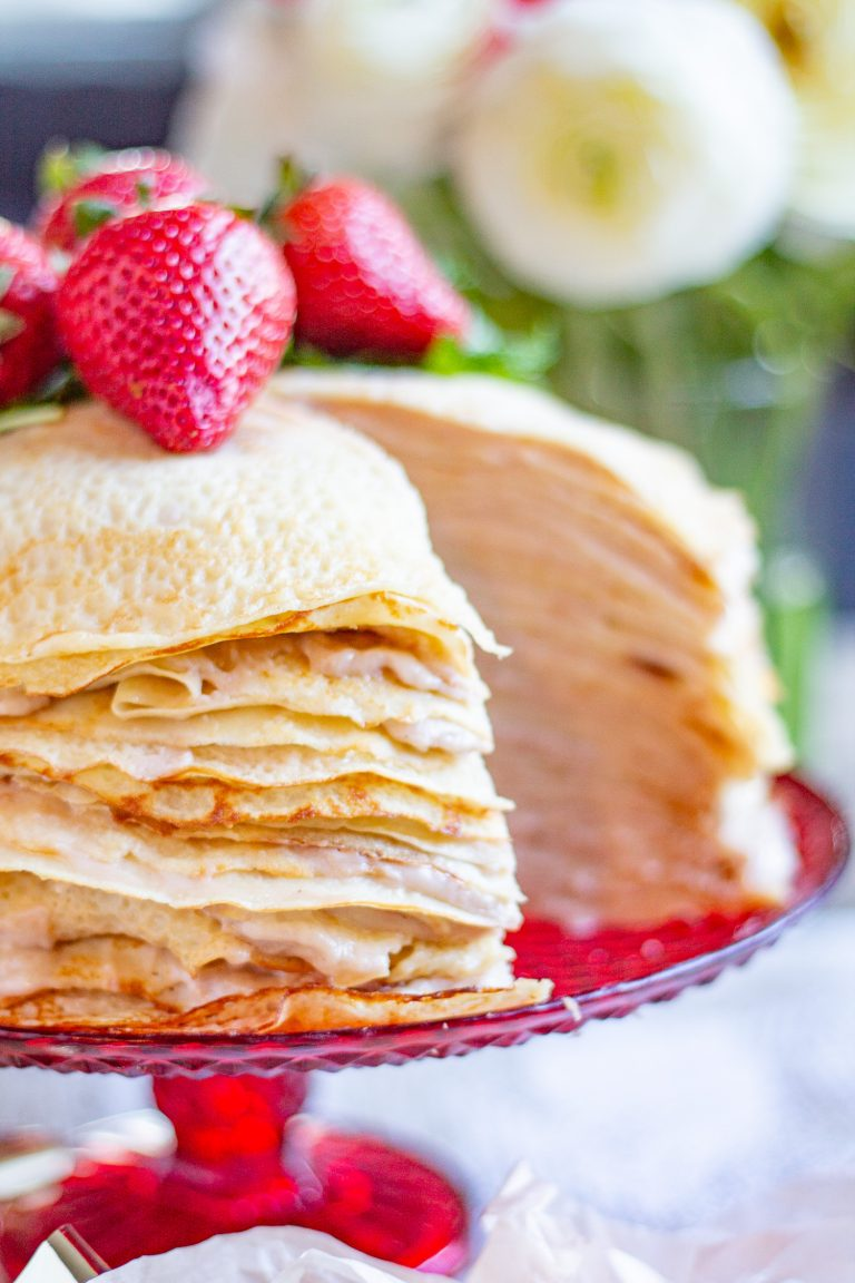 25 Layer Roasted Strawberry Crepe Cake