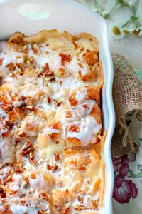 Peach Cream Cheese Cinnamon Roll Breakfast Casserole