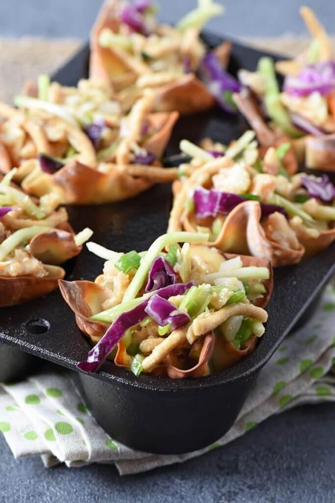 Asian Chicken Salad wonton cups