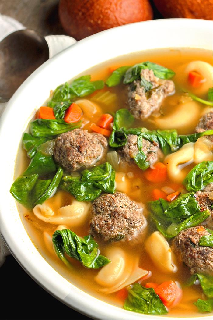 Homemade Tortellini Meatball Soup