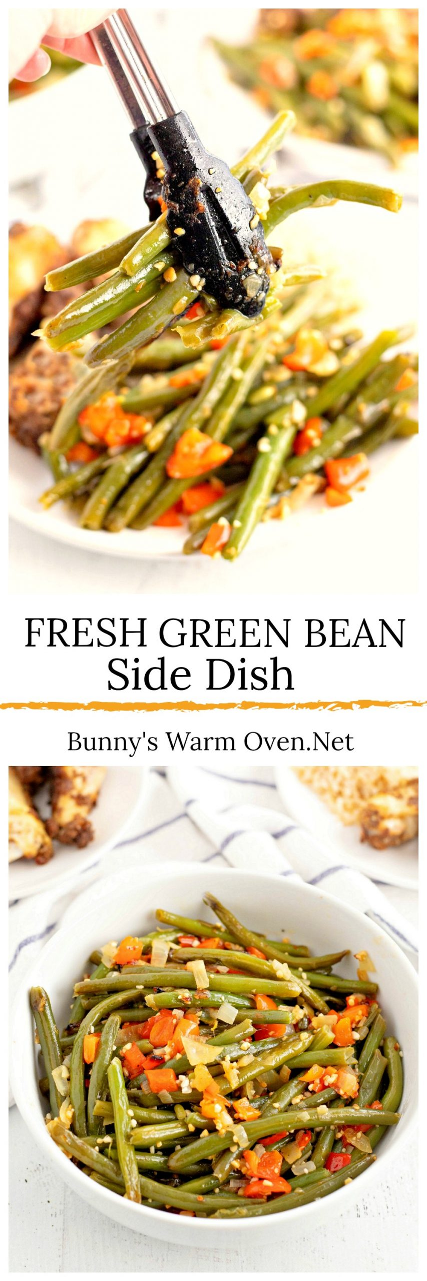 Fresh Green Bean Side Dish via @BunnysWarmOven