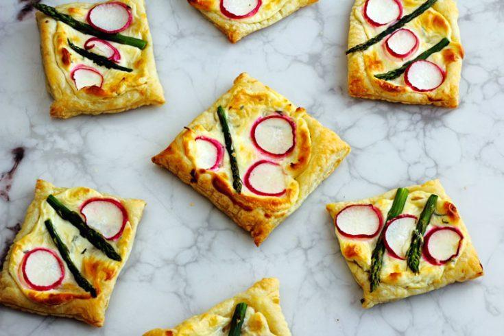 Easy Asparagus Radish Tarts