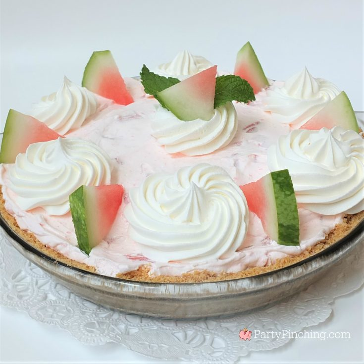 Fluffy Watermelon Pie recipe, best summer pie watermelon dessert