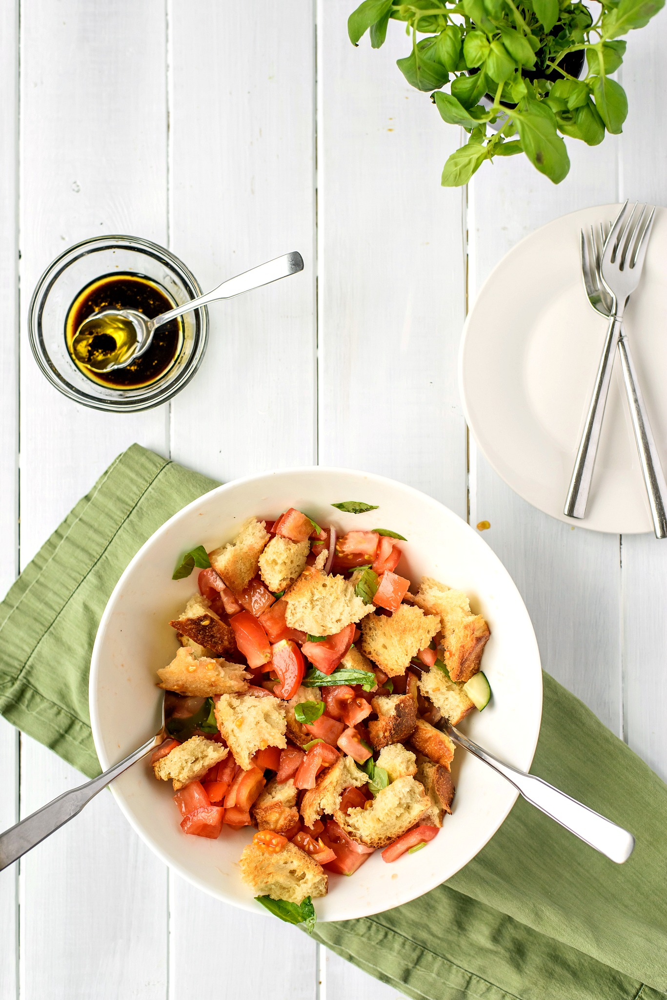 Panzanella Tomato Salad with Balsamic Vinaigrette