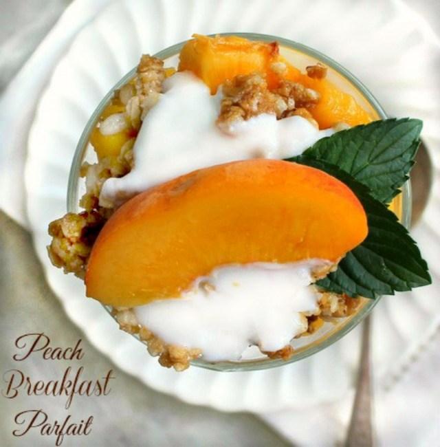 Fresh Peach Granola and Yogurt Parfait