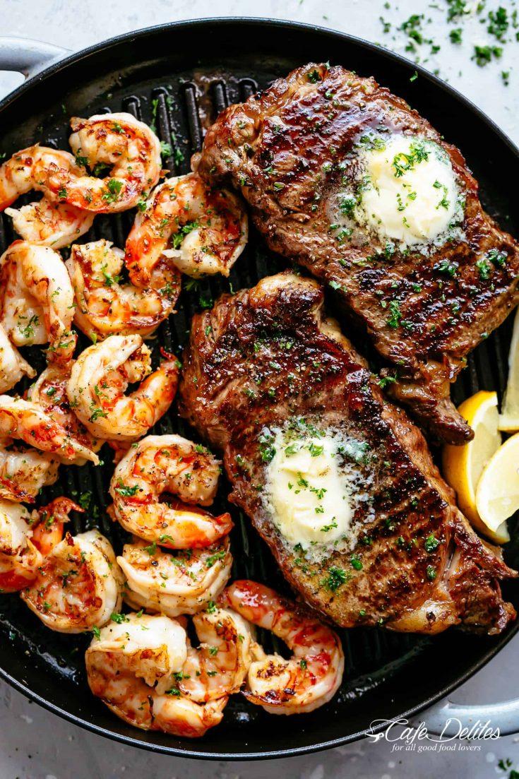 Garlic Butter Grilled Steak & Shrimp