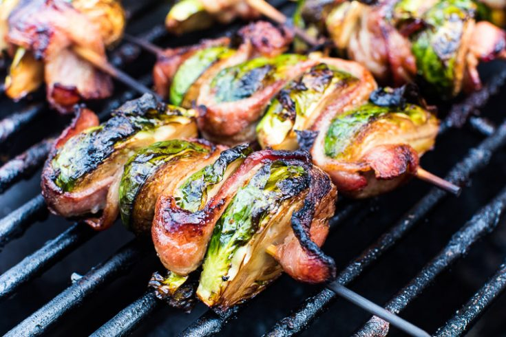 Delicious Grilled Bacon Wrapped Brussel Sprouts on a Skewer