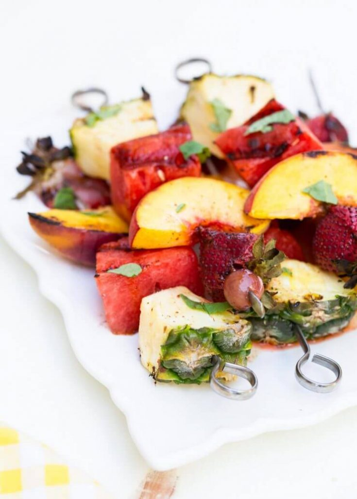 Grilled Fruit Kabobs with a Cinnamon Honey Glaze