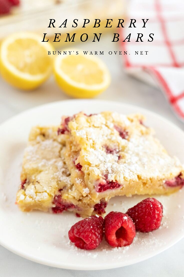 Raspberry Lemon Bars via @BunnysWarmOven