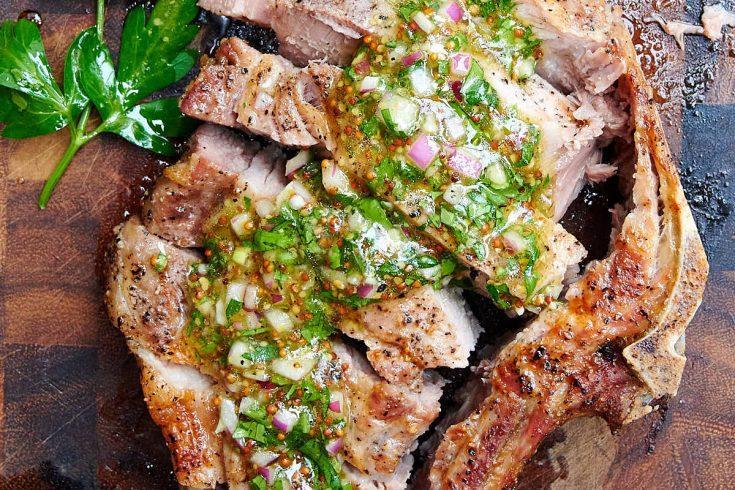 Air Fryer Pork Chops with Mustard Chimichurri Sauce
