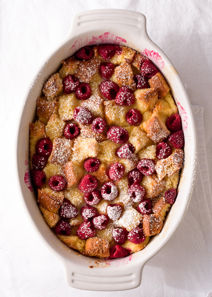 Raspberry Brioche Bread Pudding