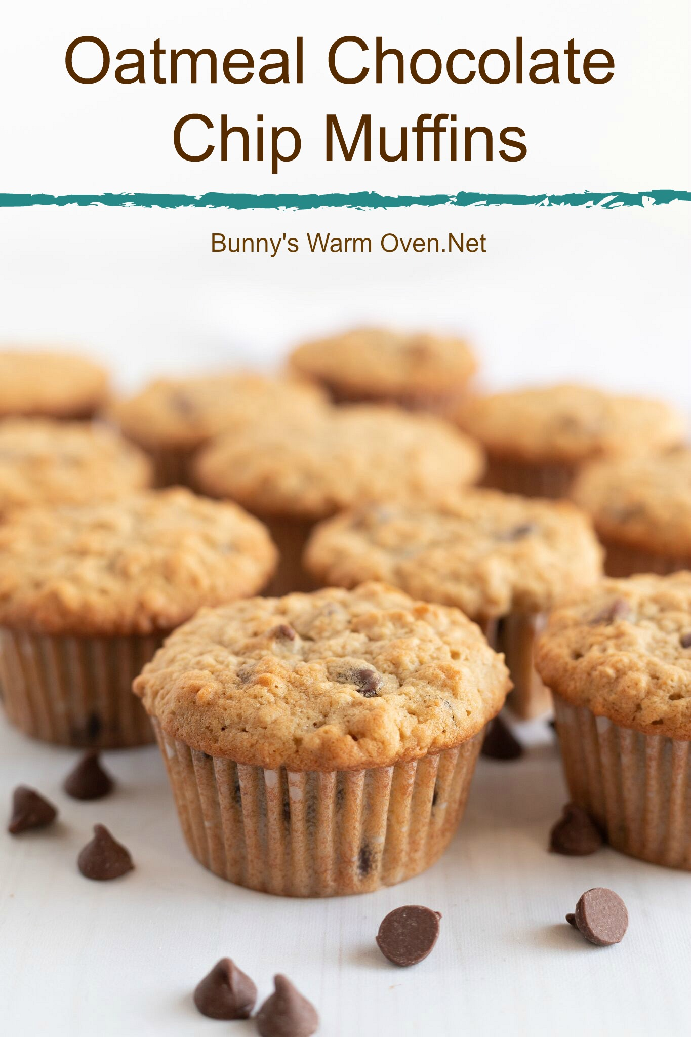 Oatmeal Chocolate Chip Muffins via @BunnysWarmOven