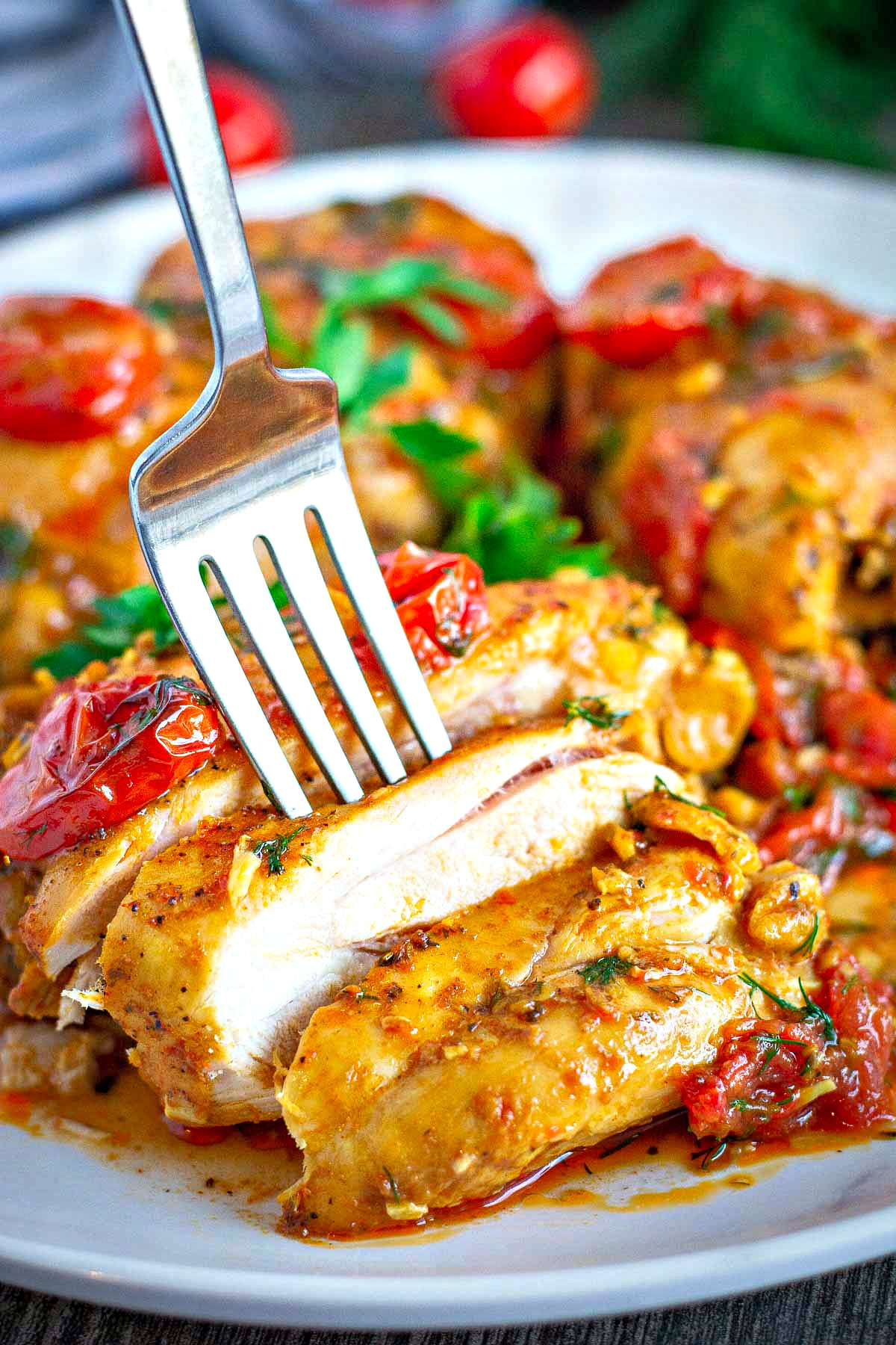 Pan Roasted Chicken Thighs with Cherry Tomatoes