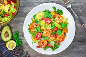 Romaine Watercress Salad with Shrimp