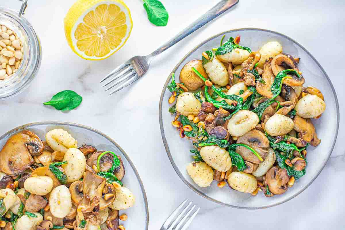 Browned Butter Gnocchi Spinach and Mushrooms