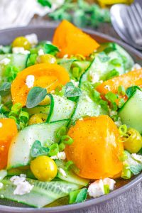 Greek Salad with Shaved Cucumbers